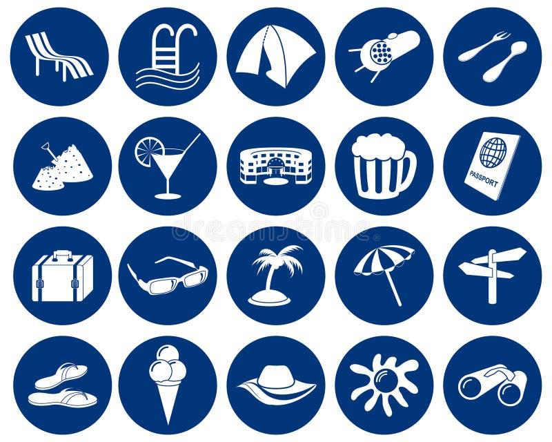 Geplaatste de pictogrammen van de reis stock illustratie