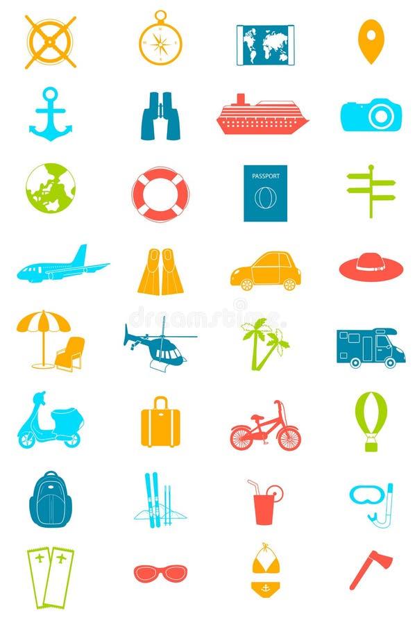 Geplaatste de pictogrammen van de reis De zomer vector illustratie