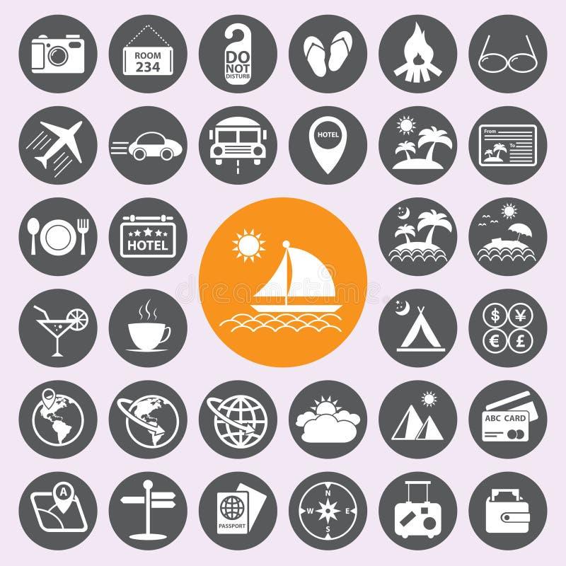 Geplaatste de pictogrammen van de reis en van de Vakantie Vector/EPS10 royalty-vrije illustratie
