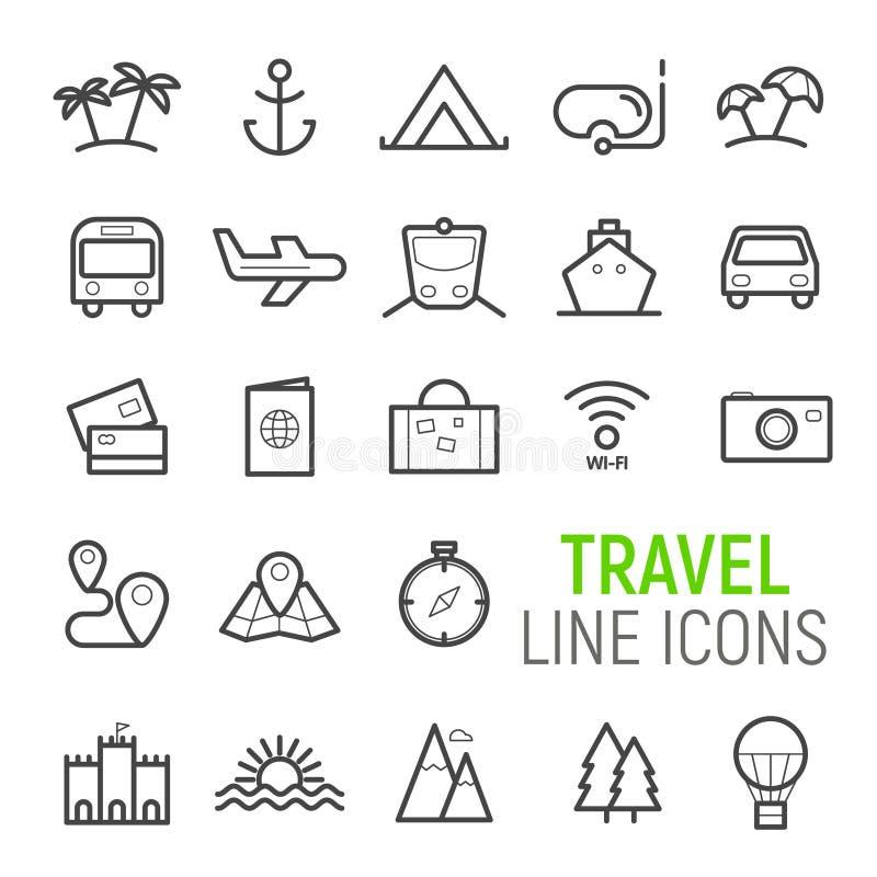 Geplaatste de pictogrammen van de reis Vector vlakke lijnillustraties stock illustratie