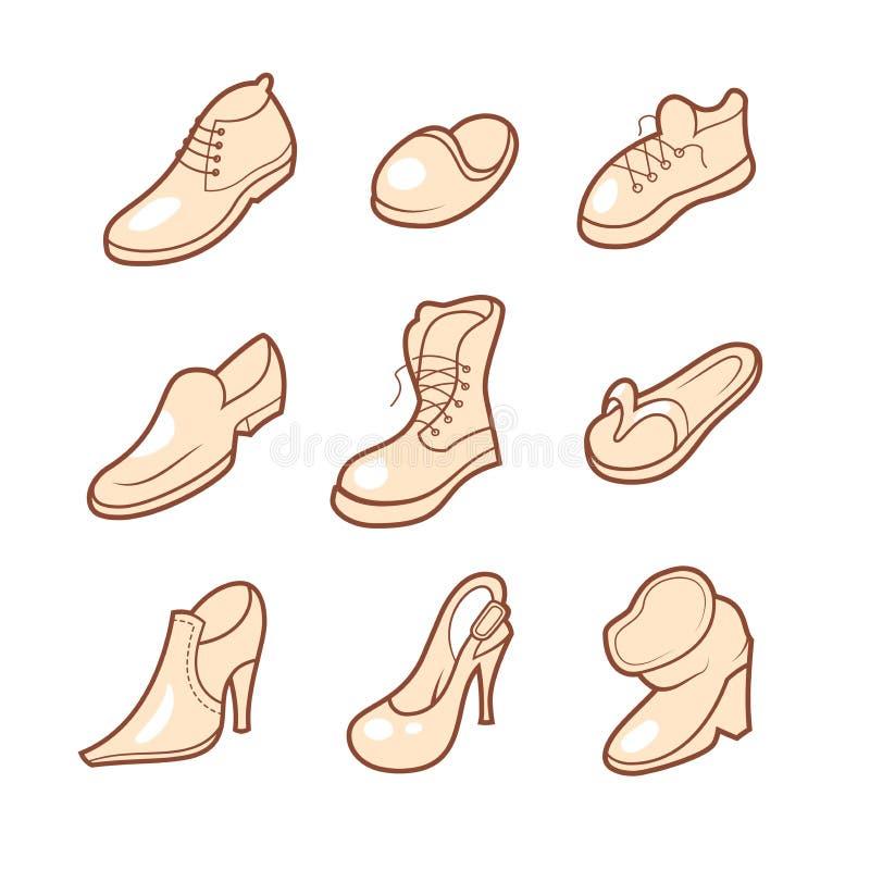 Geplaatste de pictogrammen van de schoen vector illustratie
