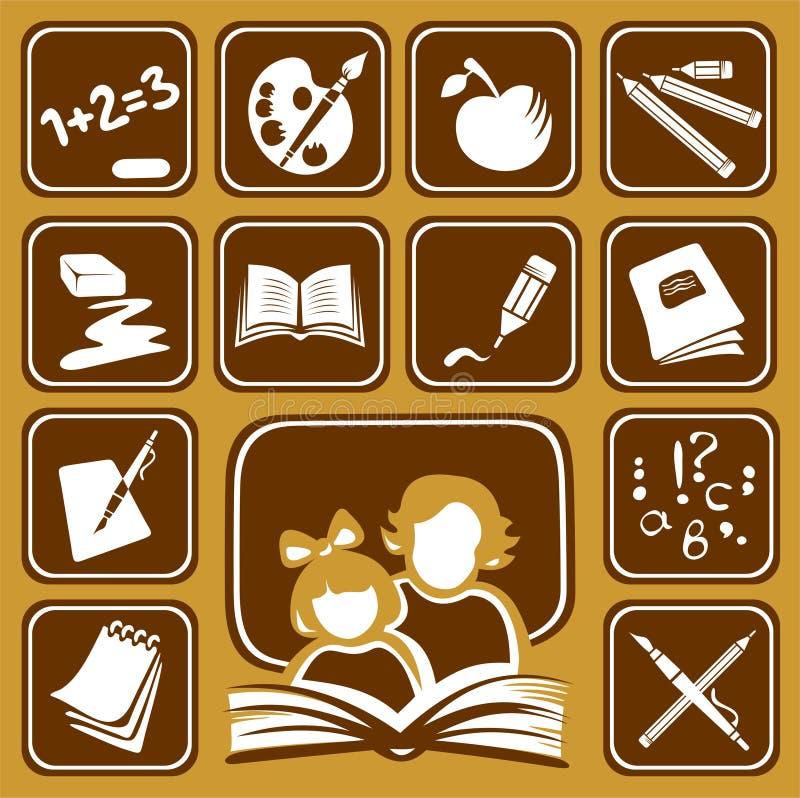 Geplaatste de pictogrammen van de school stock illustratie