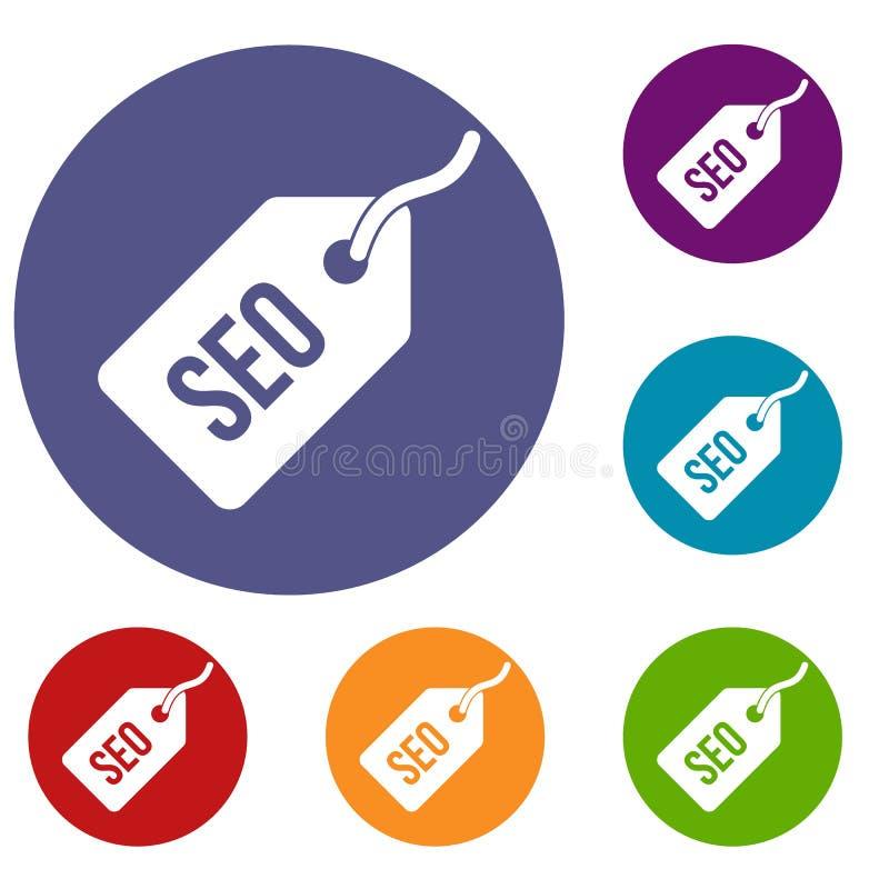 Geplaatste de pictogrammen van de Seomarkering vector illustratie