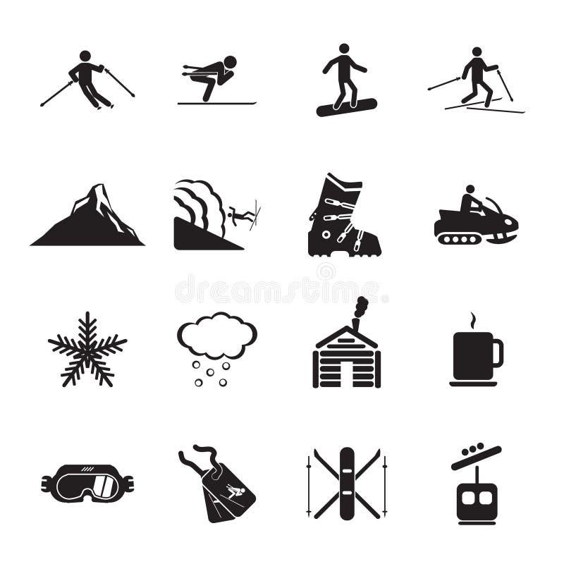 Geplaatste de pictogrammen van de skitoevlucht royalty-vrije illustratie