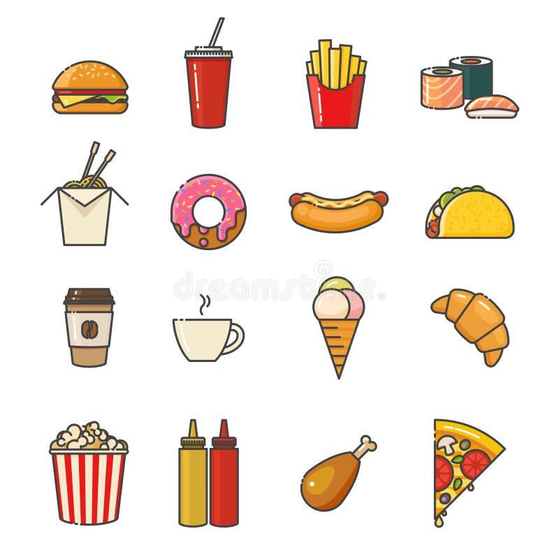 Geplaatste de pictogrammen van de snel voedsellijn Overzichts vlak ontwerp royalty-vrije illustratie
