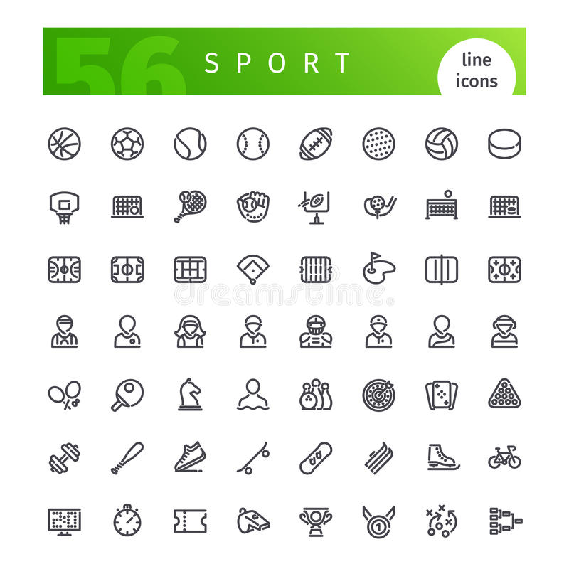 Geplaatste de pictogrammen van de sportlijn royalty-vrije illustratie