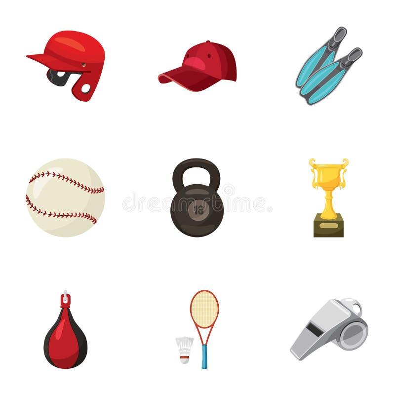 Geplaatste de pictogrammen van de sportoefening, beeldverhaalstijl vector illustratie