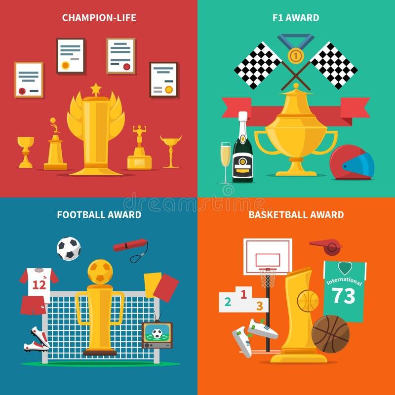 Geplaatste de Pictogrammen van de sporttoekenning vector illustratie