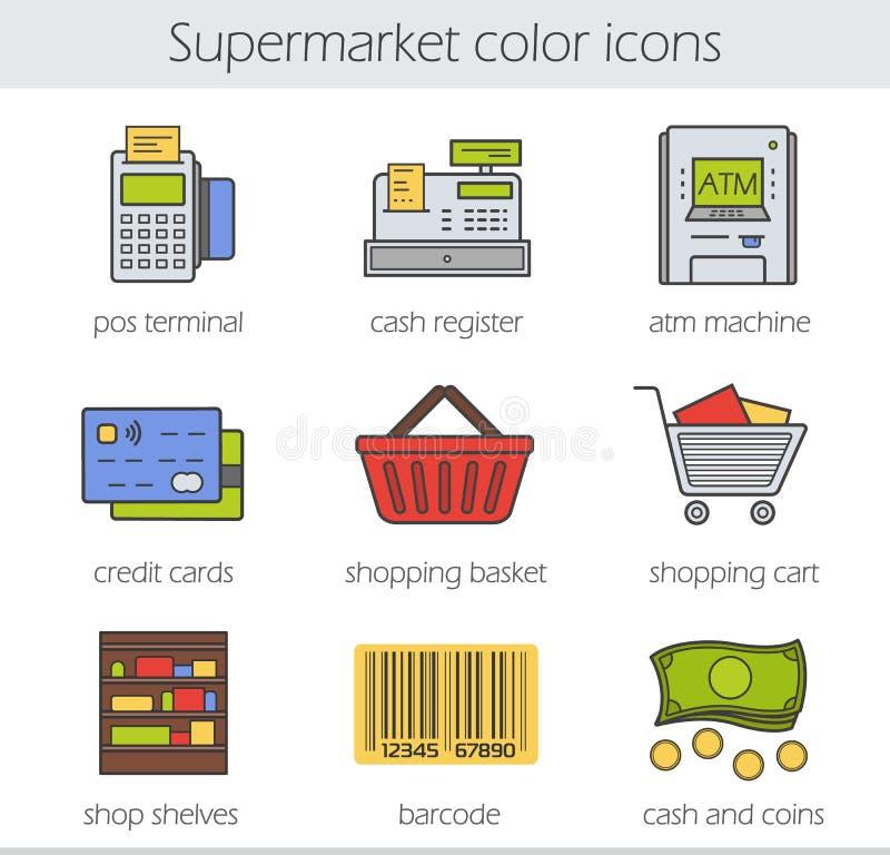 Geplaatste de pictogrammen van de supermarktkleur vector illustratie