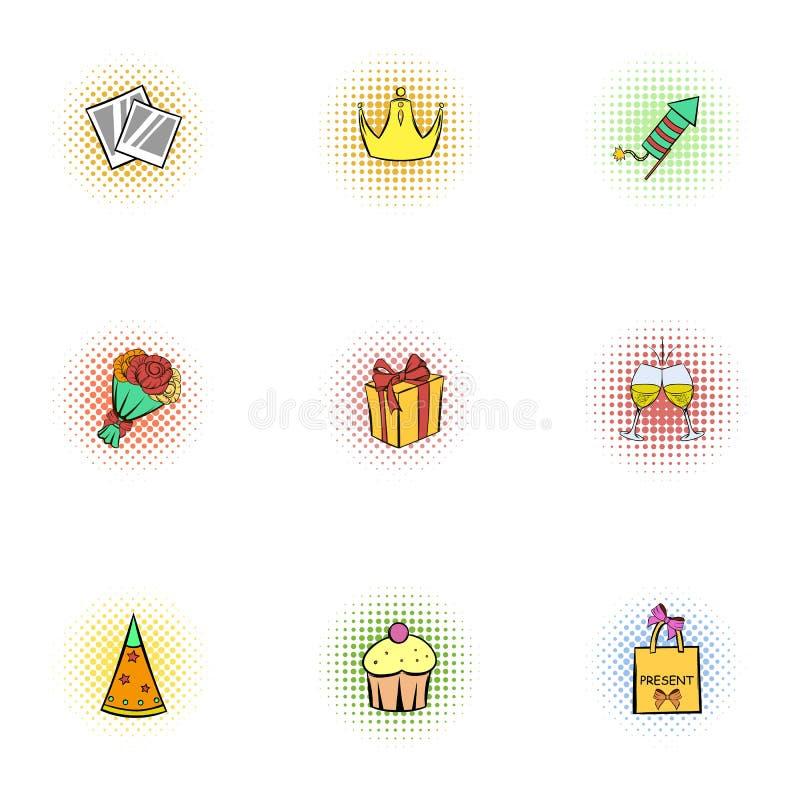 Geplaatste de pictogrammen van de vakantieverjaardag, pop-artstijl stock illustratie