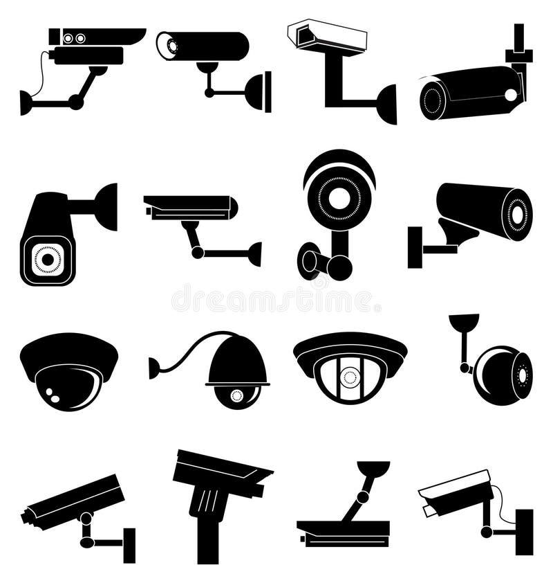 Geplaatste de pictogrammen van de veiligheidscamera stock illustratie