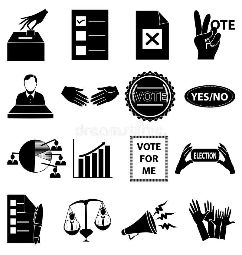 Geplaatste de pictogrammen van de verkiezingsstem vector illustratie