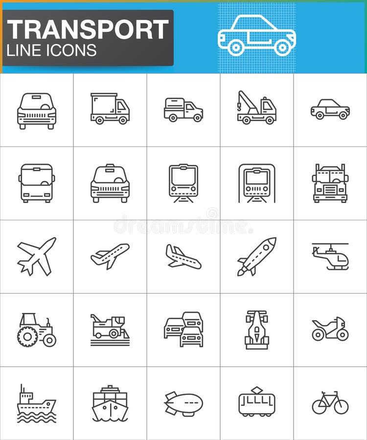 Geplaatste de pictogrammen van de vervoerlijn, schetsen vectorsymboolinzameling, het lineaire pak van het stijlpictogram royalty-vrije illustratie