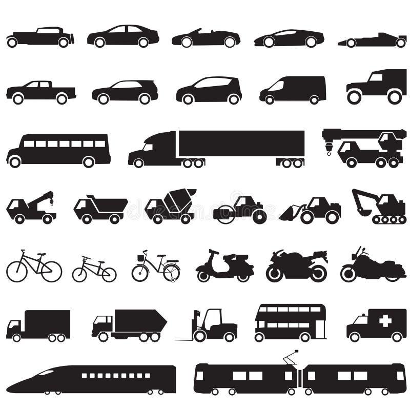 Geplaatste de pictogrammen van de vervoersauto vector illustratie