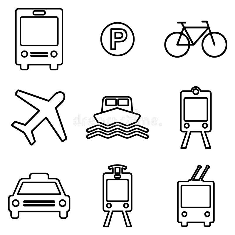 Geplaatste de pictogrammen van de vervoerslijn Openbaar vervoer vectorsymbolen stock illustratie