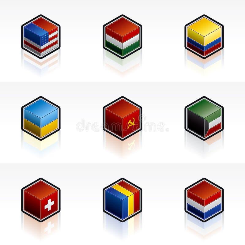 Geplaatste de Pictogrammen van de vlag - de Elementen van het Ontwerp 56b royalty-vrije illustratie