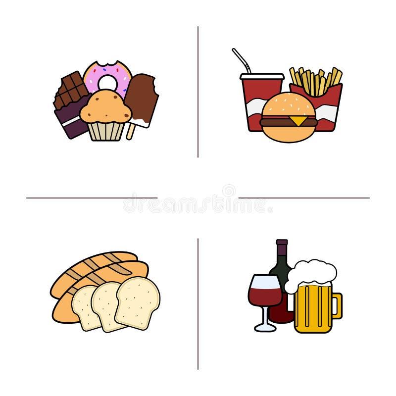 Geplaatste de pictogrammen van de voedselkleur royalty-vrije illustratie