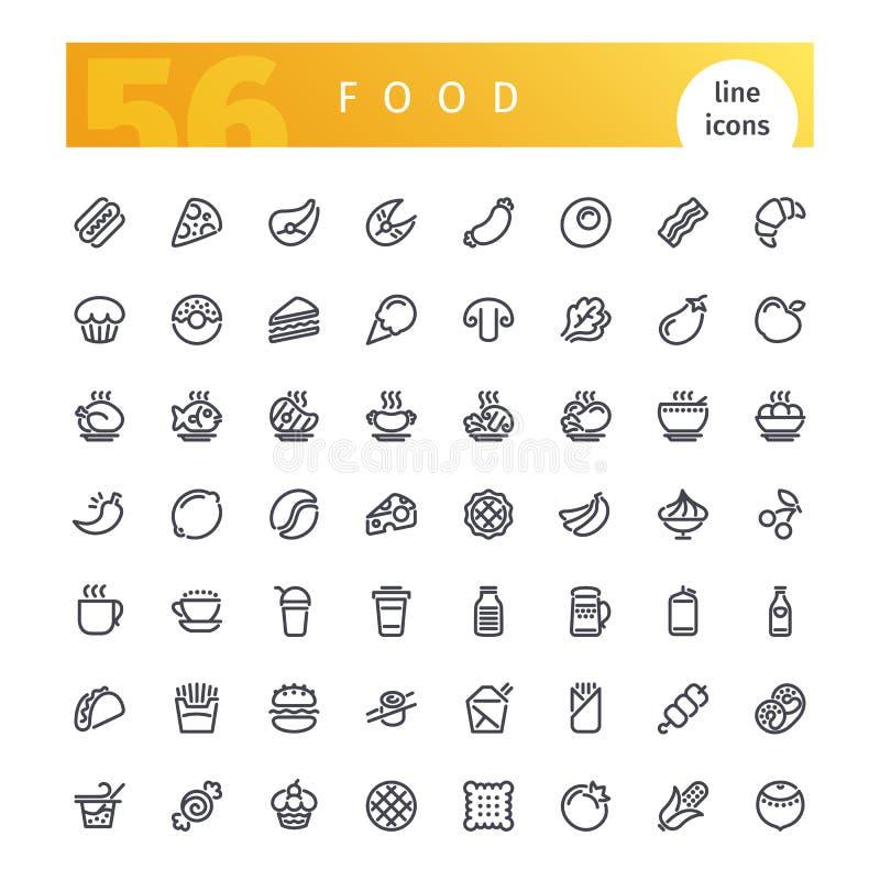 Geplaatste de Pictogrammen van de voedsellijn royalty-vrije illustratie