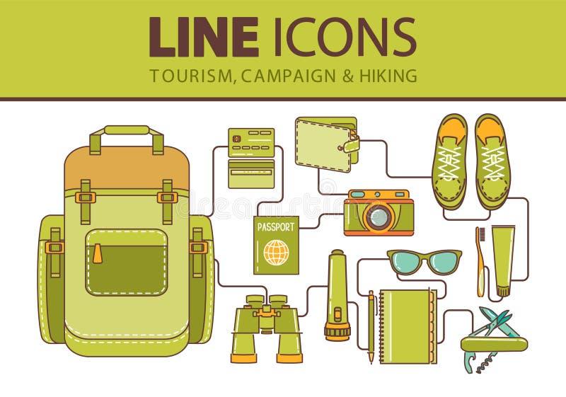 Geplaatste de pictogrammen van de voorraadlijn Wandeling, reis en vakantie royalty-vrije illustratie