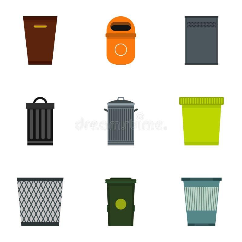 Geplaatste de pictogrammen van de vuilnisbak, vlakke stijl royalty-vrije illustratie