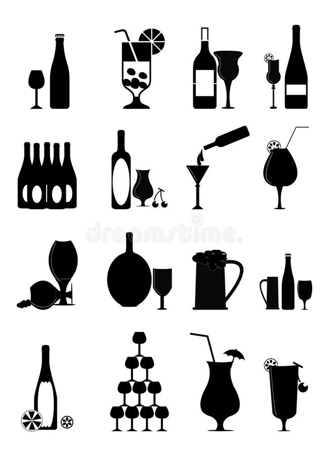 Geplaatste de Pictogrammen van de wijn royalty-vrije illustratie