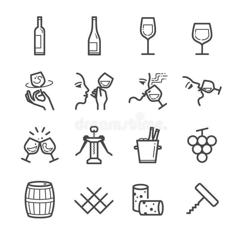 Geplaatste de pictogrammen van de wijnlijn vector illustratie