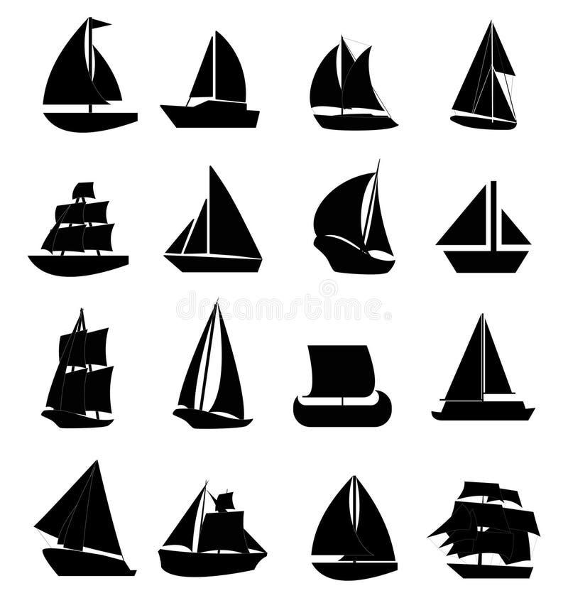 Geplaatste de pictogrammen van de zeilboot stock illustratie