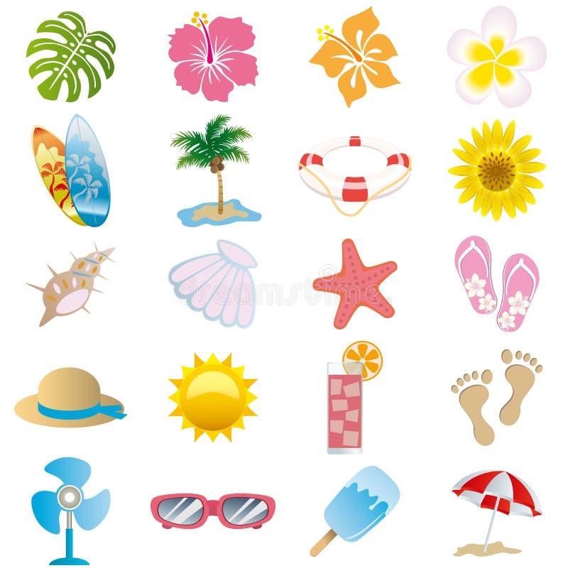 Geplaatste de pictogrammen van de zomer stock illustratie