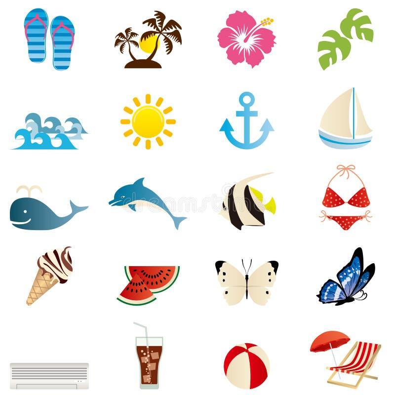 Geplaatste de pictogrammen van de zomer royalty-vrije illustratie