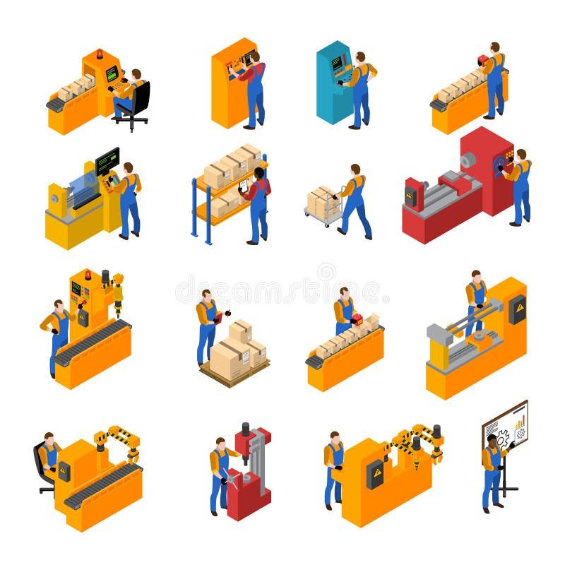 Geplaatste de Pictogrammen van fabrieksarbeiders royalty-vrije illustratie