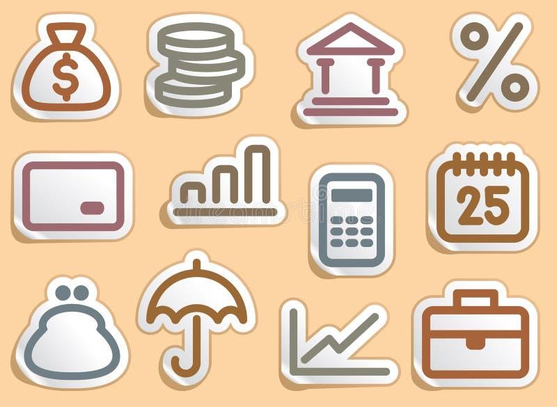 Geplaatste de pictogrammen van financiën en van het Bankwezen royalty-vrije illustratie