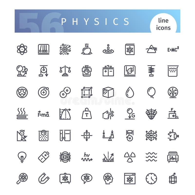 Geplaatste de Pictogrammen van de fysicalijn vector illustratie