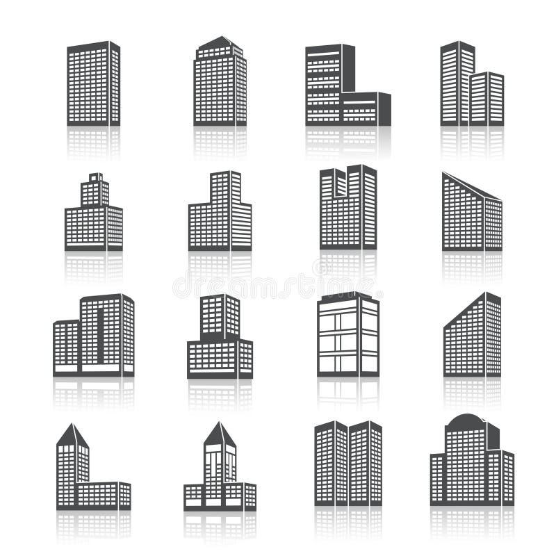 Geplaatste de pictogrammen van gebouwgebouwen royalty-vrije illustratie