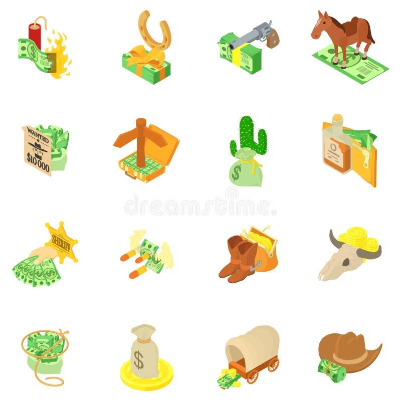 Geplaatste de pictogrammen van de geldveiligheid, isometrische stijl royalty-vrije illustratie