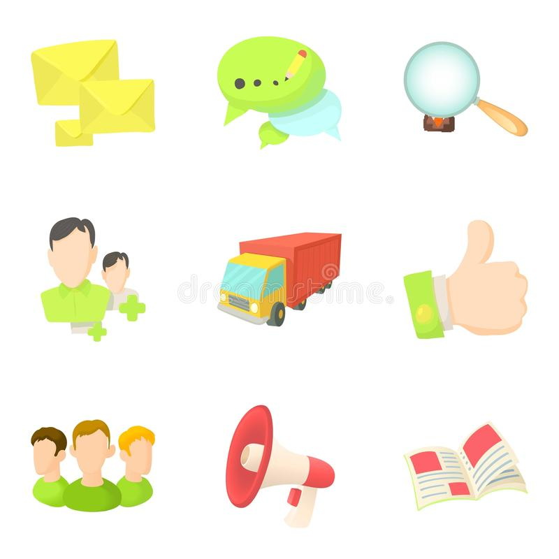 Geplaatste de pictogrammen van de goederenlevering, beeldverhaalstijl royalty-vrije illustratie