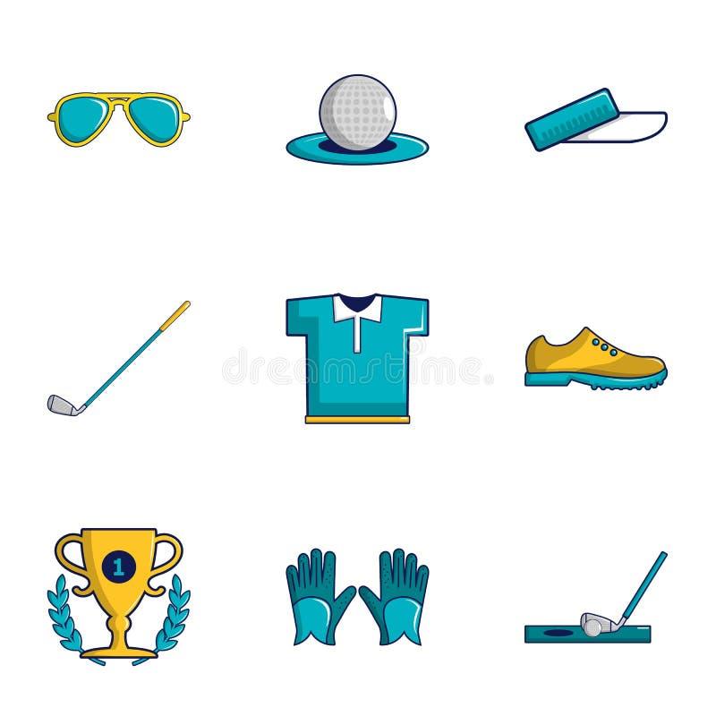 Geplaatste de pictogrammen van golftoernooien, beeldverhaalstijl vector illustratie