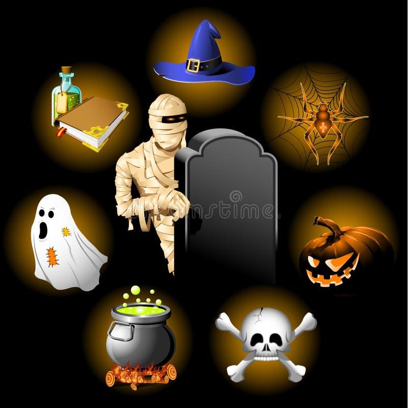 Geplaatste de pictogrammen van Halloween royalty-vrije illustratie