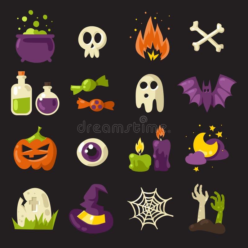 Geplaatste de pictogrammen van Halloween vector illustratie