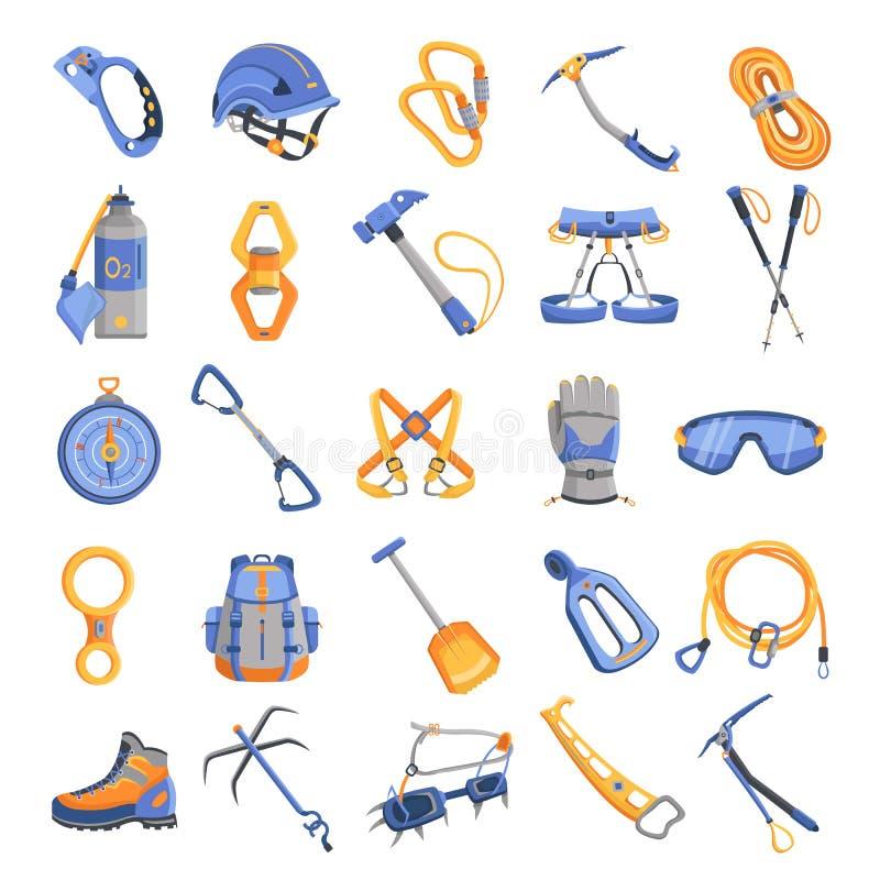 Geplaatste de pictogrammen van het alpinismemateriaal, beeldverhaalstijl royalty-vrije illustratie