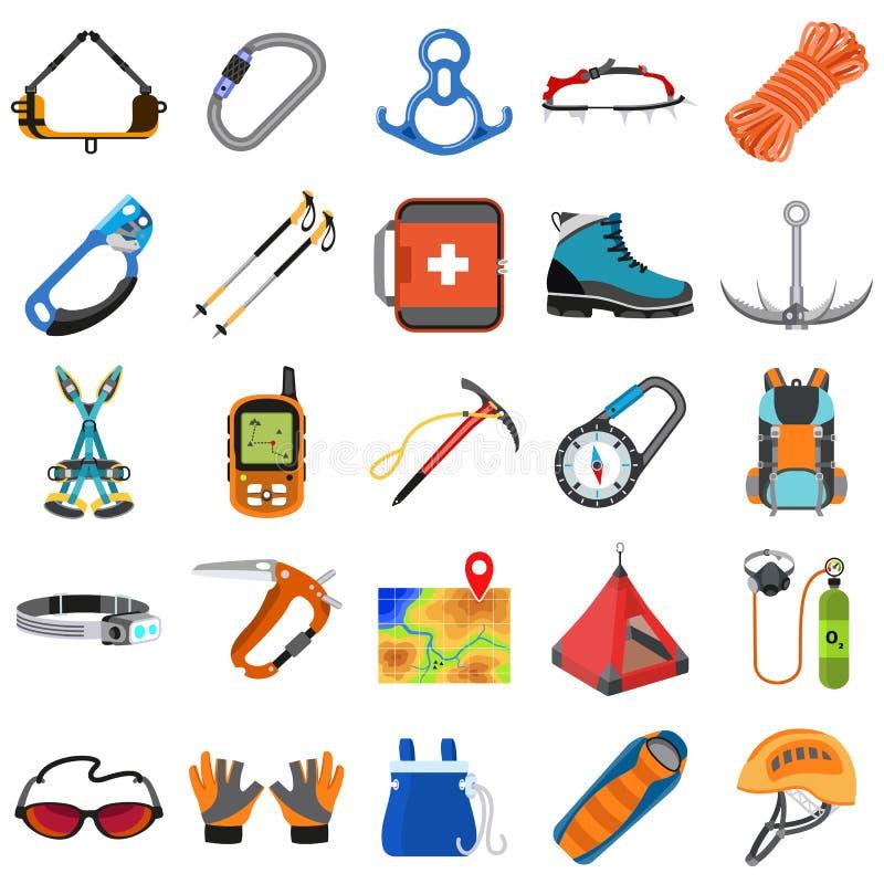 Geplaatste de pictogrammen van het alpinismemateriaal, vlakke stijl stock illustratie