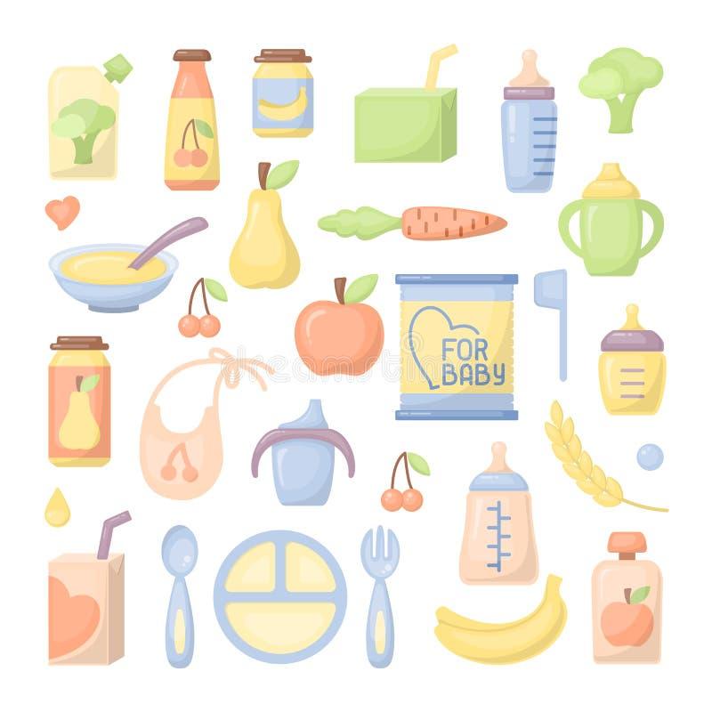 Geplaatste de pictogrammen van het babyvoedsel vector illustratie