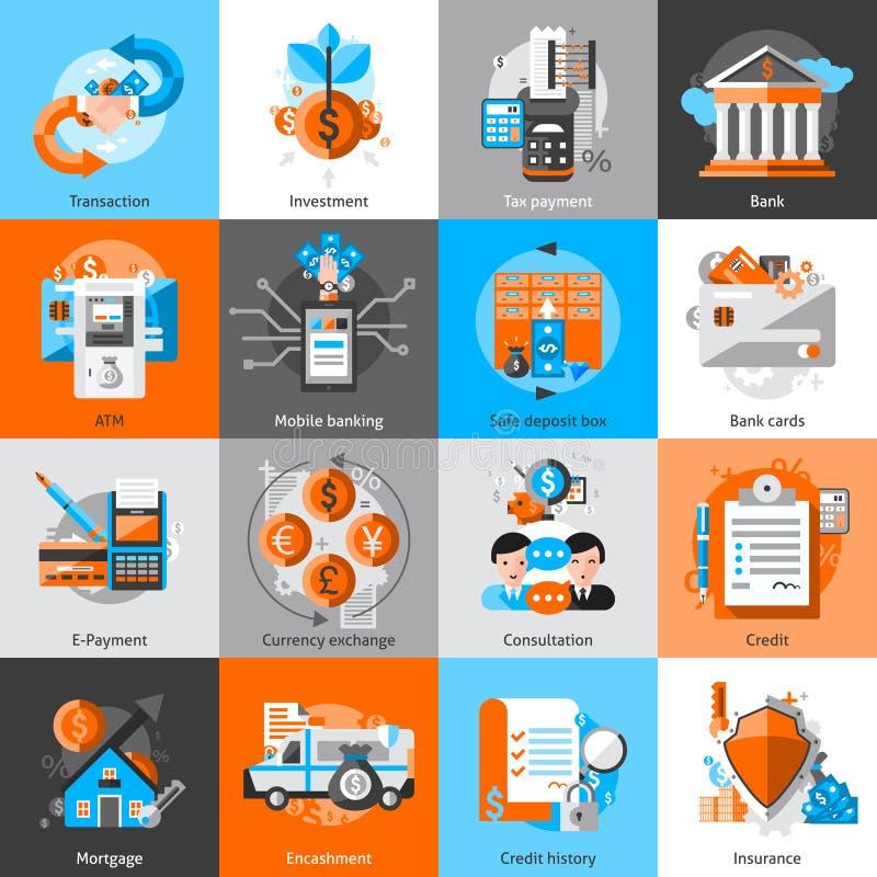 Geplaatste de pictogrammen van het bankwezen vector illustratie