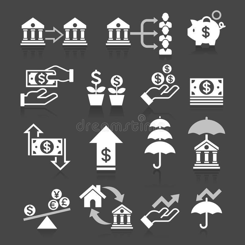 Geplaatste de pictogrammen van het bedrijfsbankwezenconcept stock illustratie
