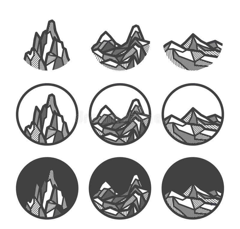 Geplaatste de pictogrammen van het bergembleem vector illustratie