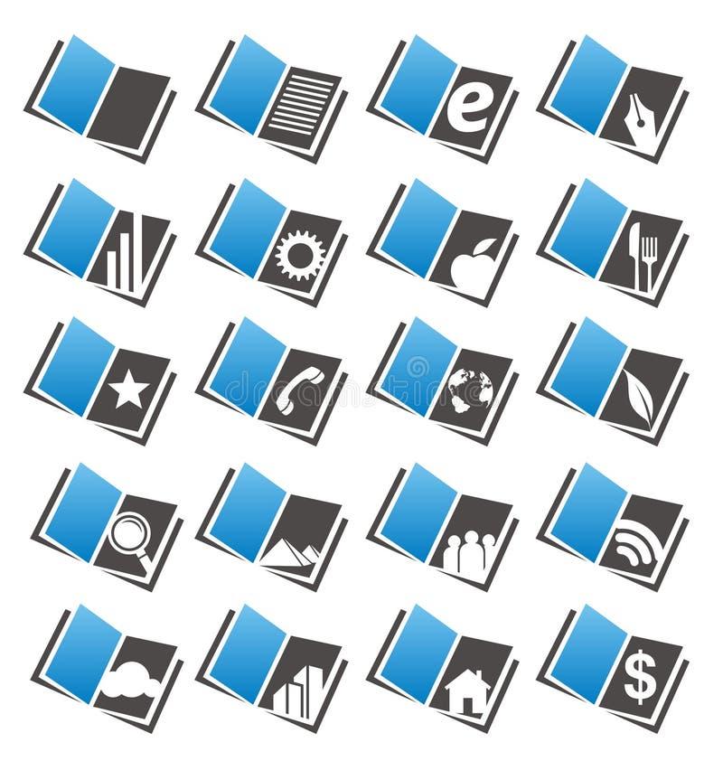 Geplaatste de pictogrammen van het boek vector illustratie