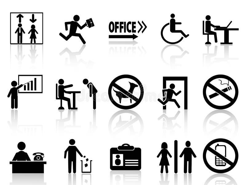 Geplaatste de pictogrammen van het bureauteken royalty-vrije illustratie