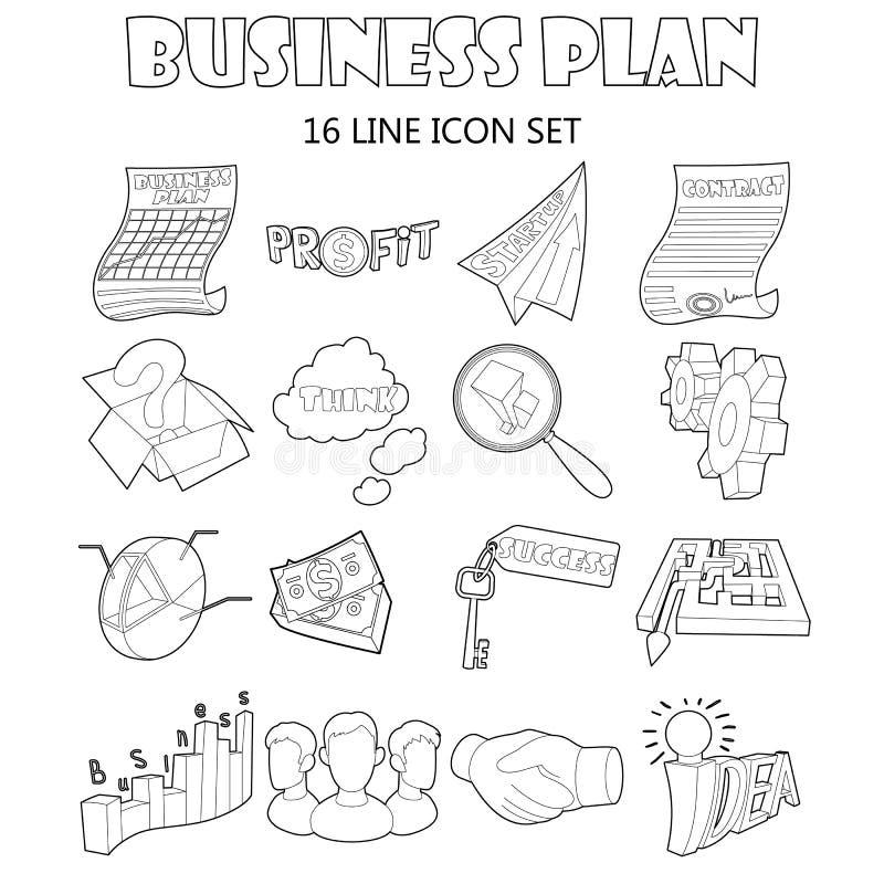 Geplaatste de pictogrammen van het businessplan, schetsen stijl royalty-vrije illustratie