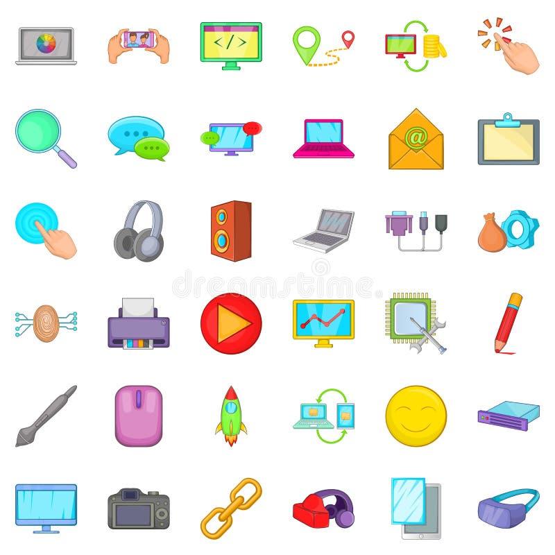 Geplaatste de pictogrammen van het computerdeel, beeldverhaalstijl stock illustratie