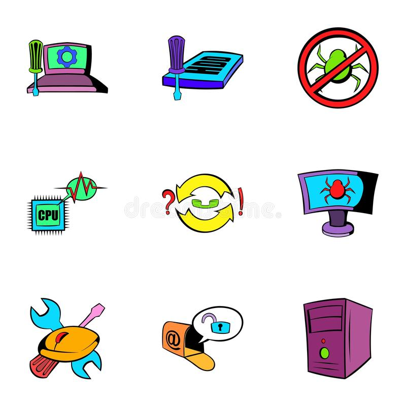 Geplaatste de pictogrammen van het computervirus, beeldverhaalstijl stock illustratie