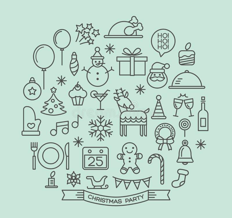 Geplaatste de pictogrammen van het de elementenoverzicht van de Kerstmispartij stock illustratie